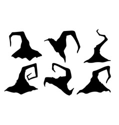 set of witch hats vector image