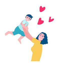 Smiling young mother throw up her baby woman vector