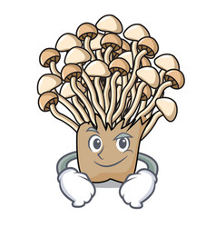 smirking enoki mushroom character cartoon vector image