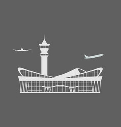 solid modern airport terminal building icon vector image