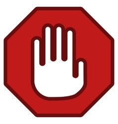 Stop Hand Sign Toolbar Icon vector image