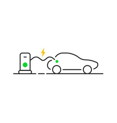 Thin line e-car like fast charging vector