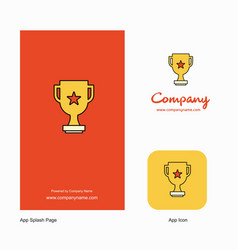 trophy company logo app icon and splash page vector image