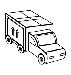 Truck with big box on front side view vector