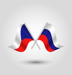 Two crossed czech and russian flags vector