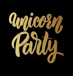 unicorn party lettering phrase for poster card vector image