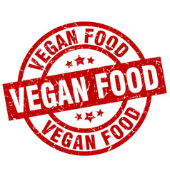Vegan food round red grunge stamp vector