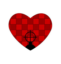 Weapon sight and checkered red heart valentines vector