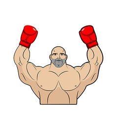 Winner champion of boxing Strong man on white vector