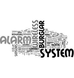 wireless burglar alarm system text word cloud vector image