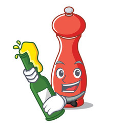 With beer pepper mill character cartoon vector