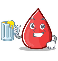With juice blood drop cartoon mascot character vector