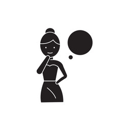 woman thinking black concept icon woman vector image
