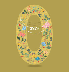 Yellow number zero with floral decor and necklace vector