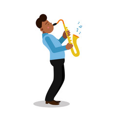 young black man playing sax cartoon character vector image