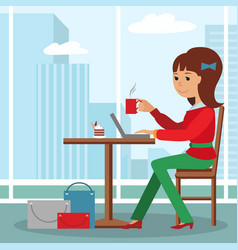 Young girl sitting at table drinking coffee and vector