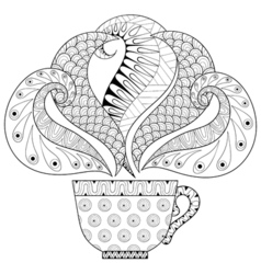Zentangle stylized cup of tea with steam hot vector image