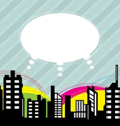 city with speech balloon vector image vector image