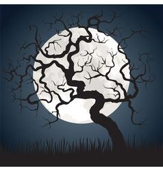 gnarled tree at night vector image