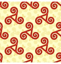 Red and yellow celtic triskels seamless pattern vector image vector image
