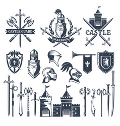 monochrome pictures and badges of medieval knight vector image vector image