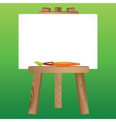 wooden easel canvas paintbrush vector image vector image