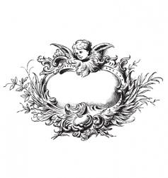 antique floral frame engraving vector image