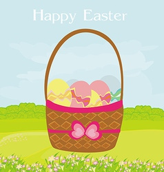 happy easter border on rural landscape vector image