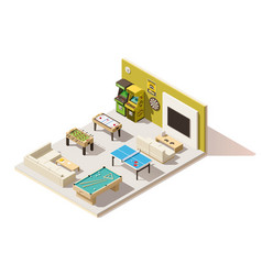isometric low poly recreation room interior vector image