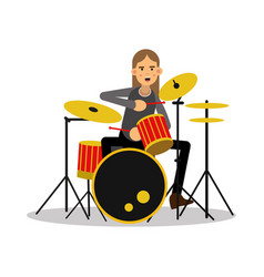 Mucisian man with long hairs playing on drum kit vector