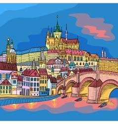 Prague Castle and Charles Bridge vector image