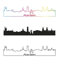 Aberdeen skyline linear style with rainbow vector image vector image