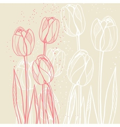 Abstract floral with tulips on beige background vector image vector image