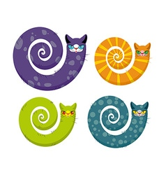 Cat with long tail Snake cat Set of fantastic vector image vector image