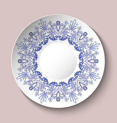decorative plate decorated with blue ethnic vector image