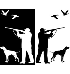 hunter and dog silhouettes vector image