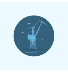 Icon with colored cargo crane vector image