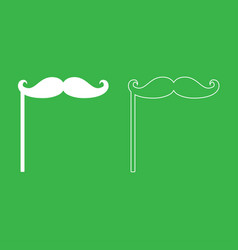 mustaches on the stick icon white color vector image