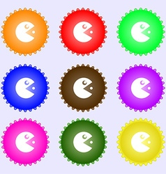 pac man icon sign Big set of colorful diverse vector image vector image
