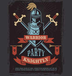 poster with of medieval warrior vector image