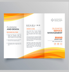 trifold brochure template with orange wave shapes vector image vector image