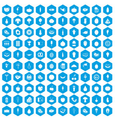 100 food icons set blue vector
