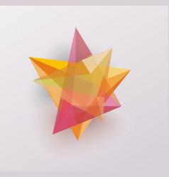 3d glass geometric star symbol business icon vector image