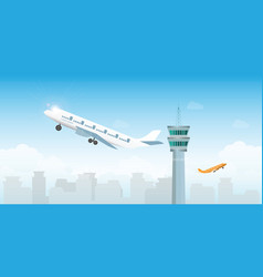 airplane taking off from airport with control vector image