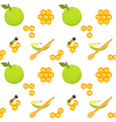 apples and honeycomb seamless pattern vector image