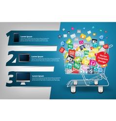 Application icon concept in shopping cart vector