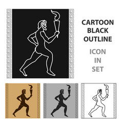 athlete with olympic fire icon in cartoon style vector image
