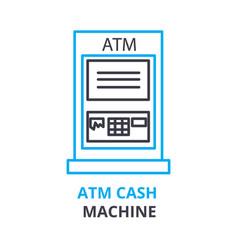 atm cash machine concept outline icon linear vector image