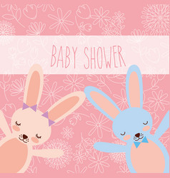 Baby shower pink and blue bunnies greeting card vector