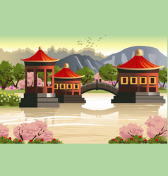Background of chinese temples vector